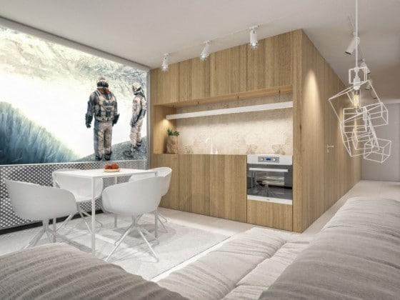 Diseño de sala comedor y cocina pequeños