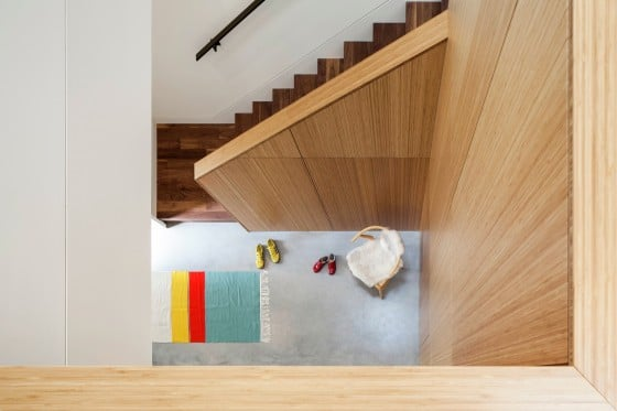 Escaleras de madera vista superior