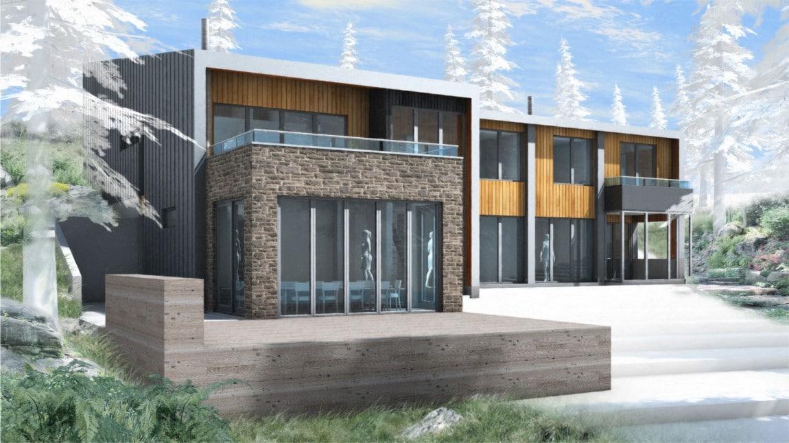 Casa de campo moderna de dos pisos en desnivel construye for Fachadas de casas de campo