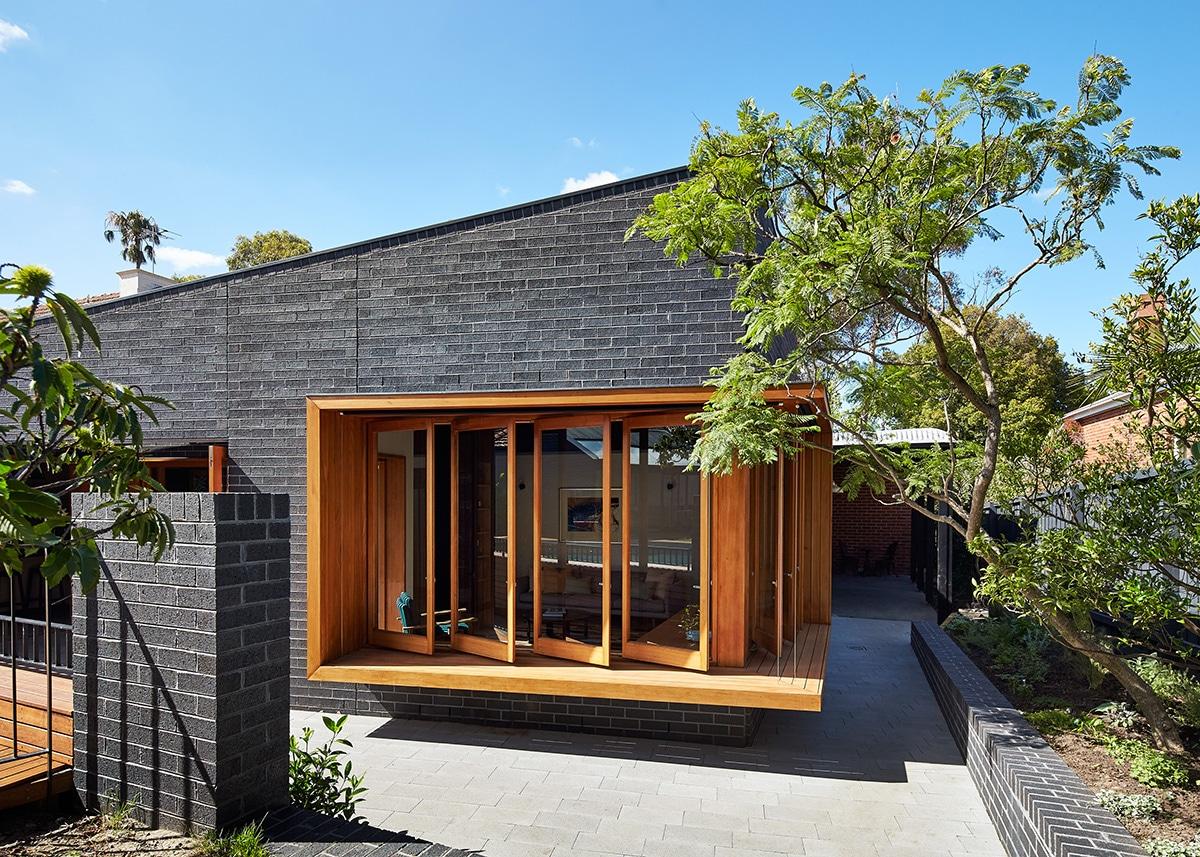 Casas moderna un piso con ladrillo construye hogar for Fachada de casas