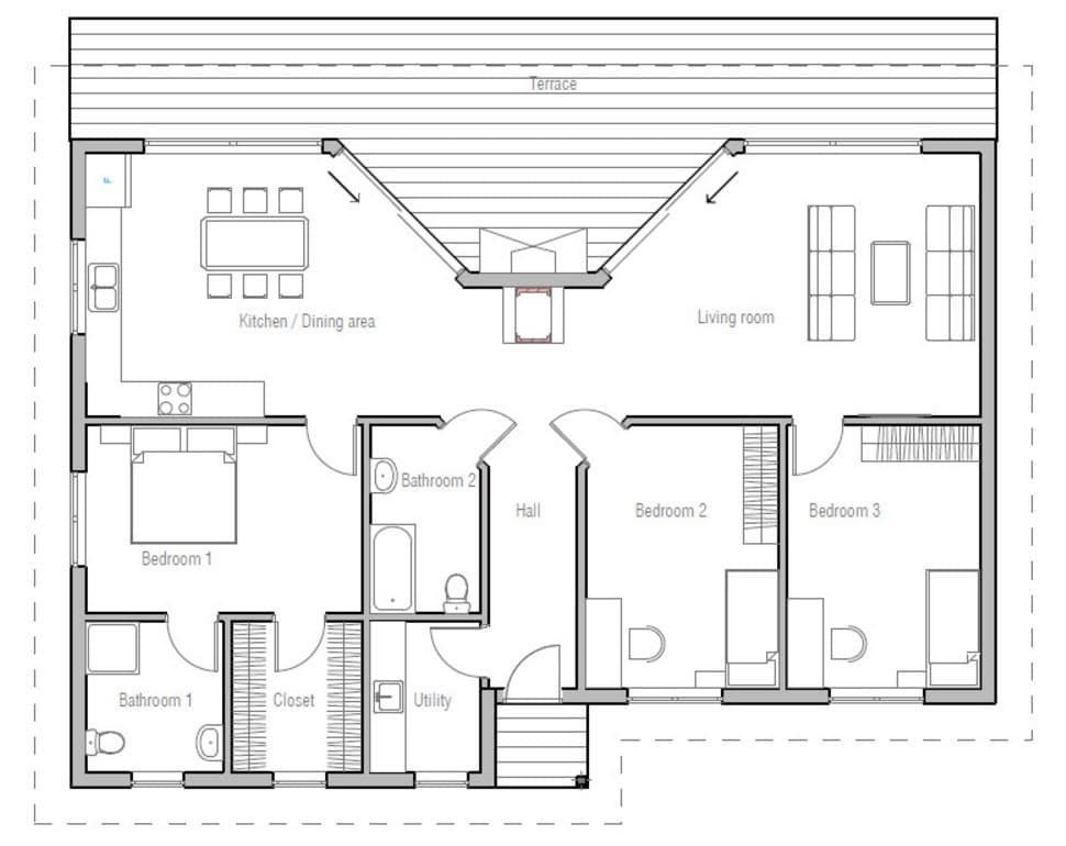 Plano casa de campo tres dormitorios modelos alternativo for Planos de casas de campo de 3 dormitorios