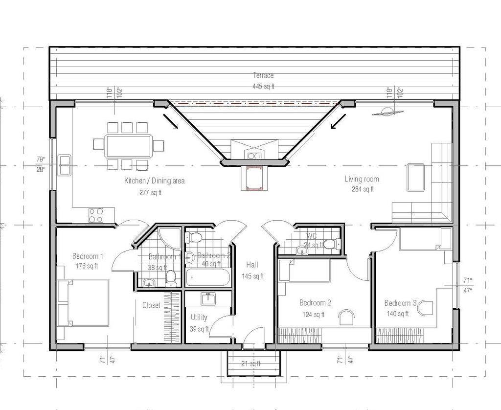 Plano casa de campo tres dormitorios construye hogar for Casa de una planta sencilla