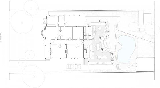 Plano casa de un piso con piscina