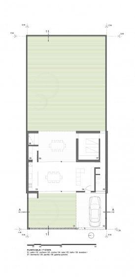 Plano de casa un piso 1 dormitorio