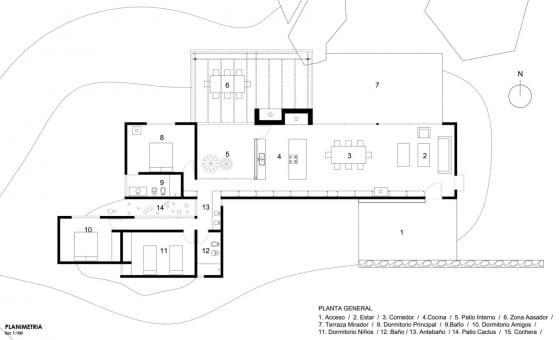 Plano de casa de campo de tres dormitorios