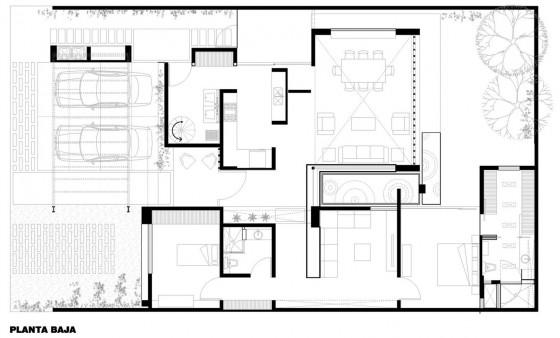 Plano de casa de un piso de 234 metros cuadrados