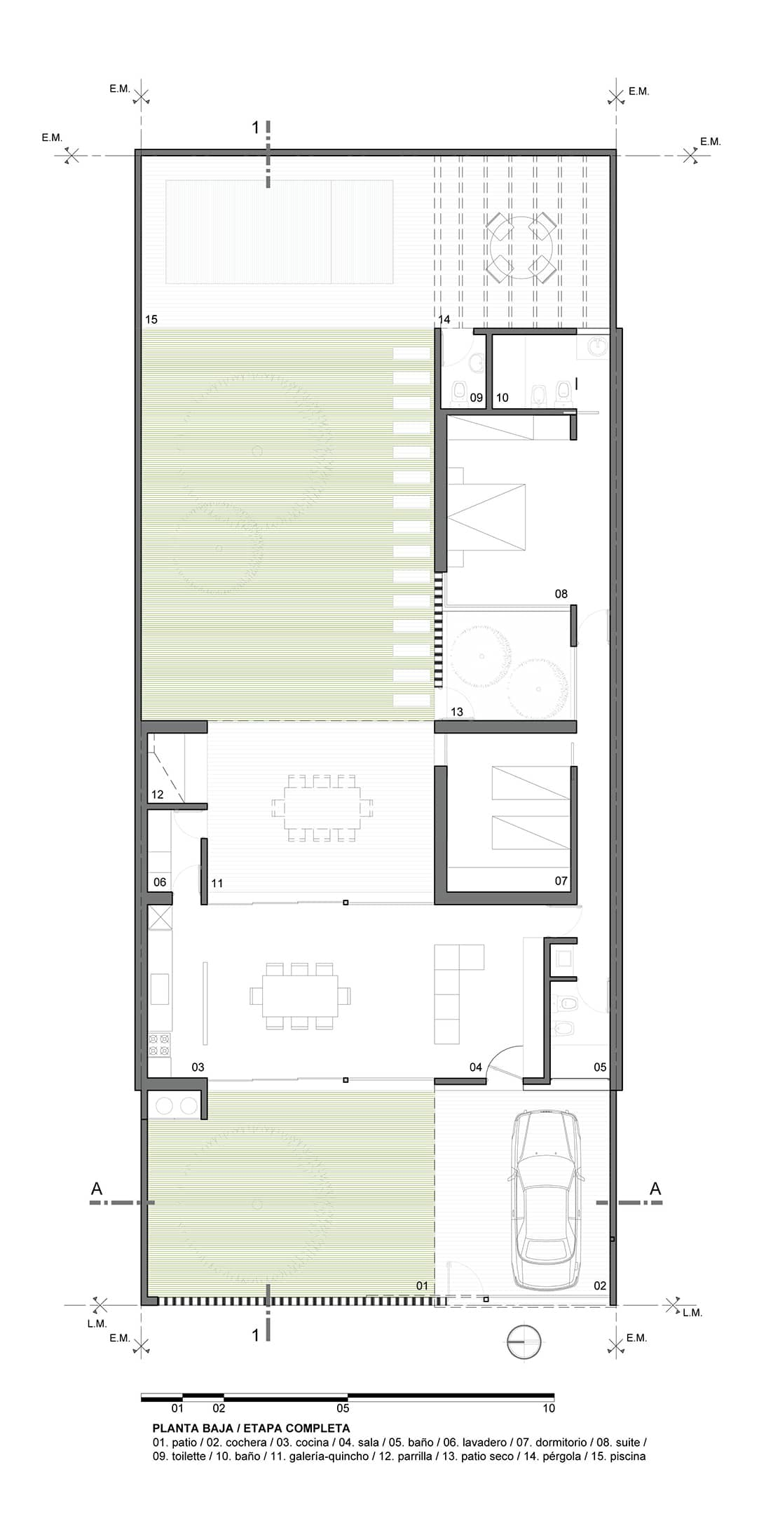 Casa de un piso y dos dormitorios for Planos de casa minimalista una planta