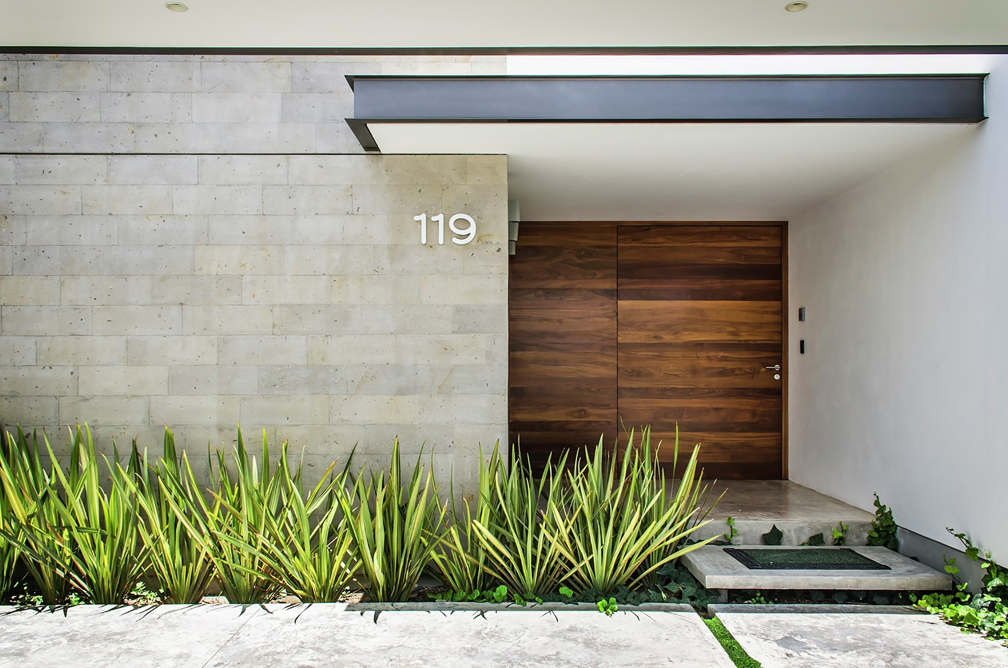 Dise o casa moderna de un piso construye hogar for Doble puerta entrada casa