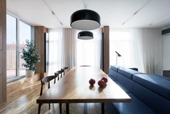 Diseño de comedor con mesa de madera