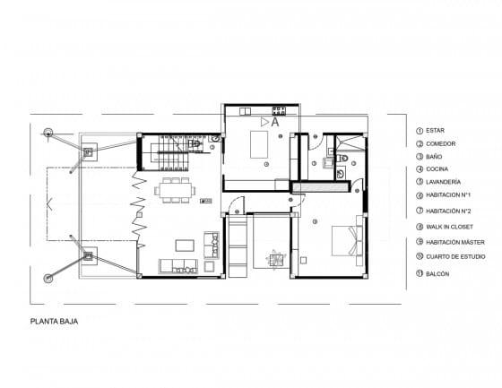 Plano de casa de dos pisos de 240 metros cuadrados
