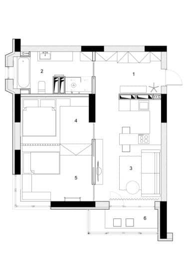 Plano departamento pequeño