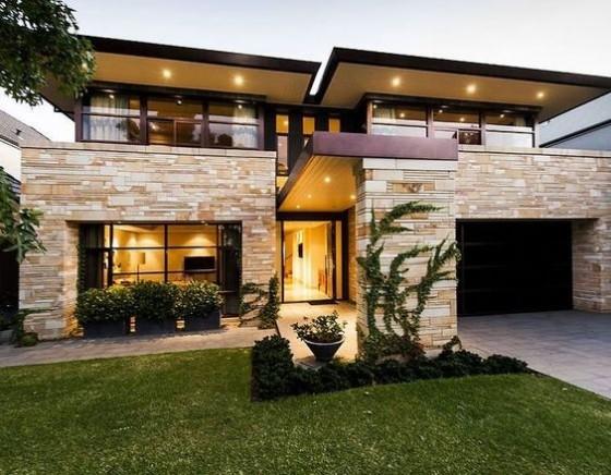 Vivienda 2 pisos moderna con piedra