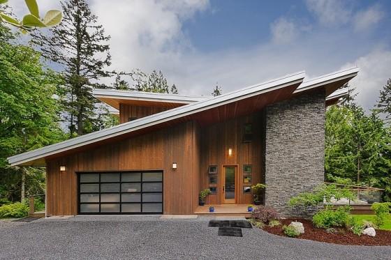 Fachada contemporánea madera y piedra