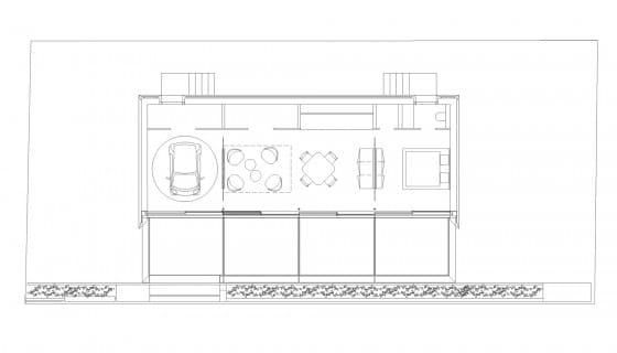 Plano de casa prefabricada de un dormitorio con garage