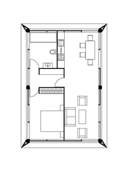 Plano de casa pequeña un dormitorio