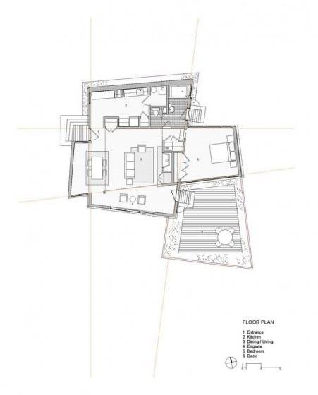 Plano casa campo de un dormitorio