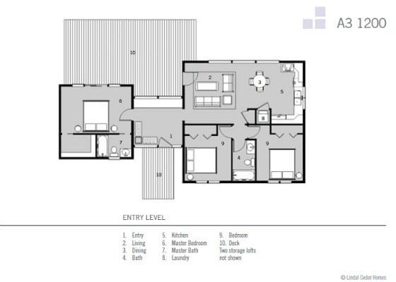 Plano casa de campo de 3 dormitorios