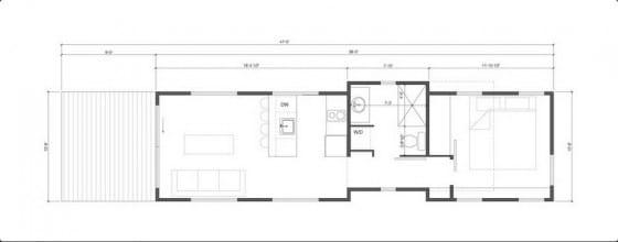 Plano de casa de campo pequeño un dormitorio