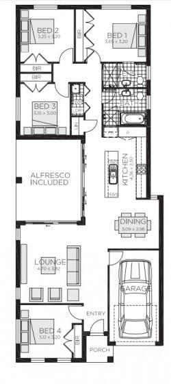 Plano de casa pequeña de tres dormitorios