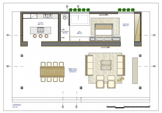 Ideas para casas en terrenos peque os construye hogar for Planos de sala cocina y comedor