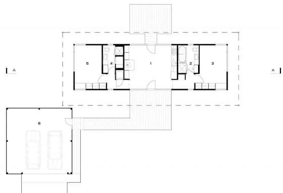 Plano de casa pequeña dos dormitorios