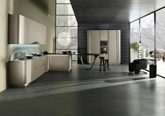 Cocina moderna con encimera cuarcita gris