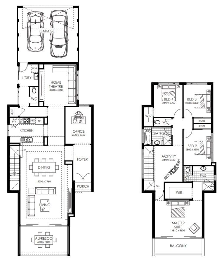 planos de casas de dos pisos y cuatro recamaras