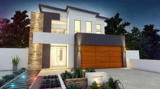 Fachada de casa moderna de dos pisos aplicaciones de piedra