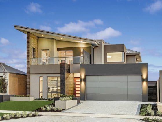 Foto fachada de moderna casa de dos plantas