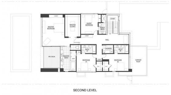 Plano de casa de dos pisos - segundo nivel