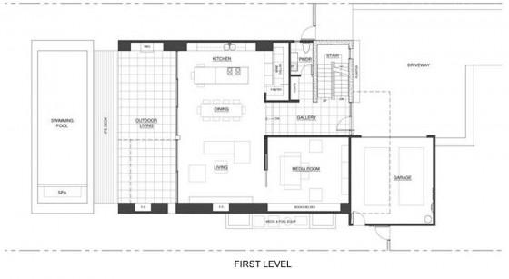 Plano de casa dos pisos - primer nivel