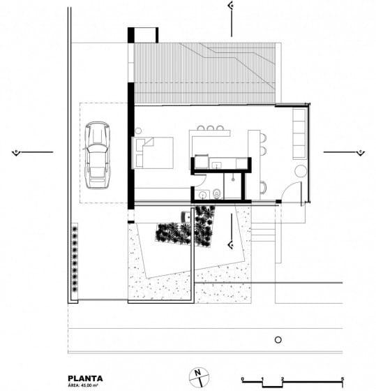 Plano de casa económica de un piso y dormitorio
