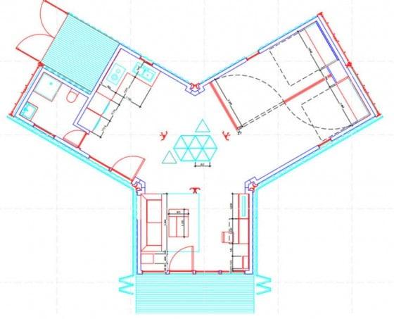 Plano de casa reciclada forma de Y