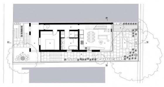 Plano del primer piso de la casa de dos plantas