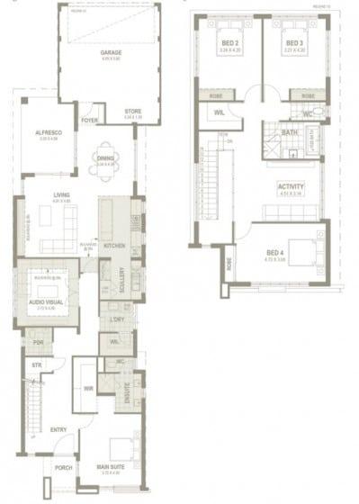 Planos casa de dos pisos angosta y larga