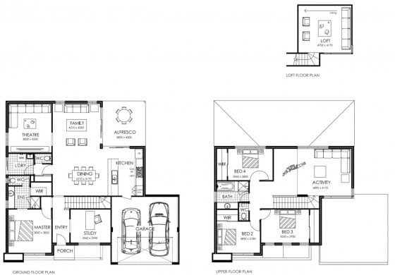 Planos de casa de dos pisos con garaje