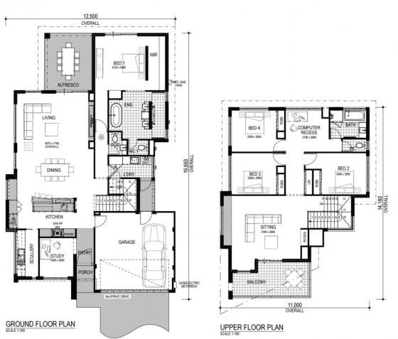 Planos de casa de dos pisos mediana
