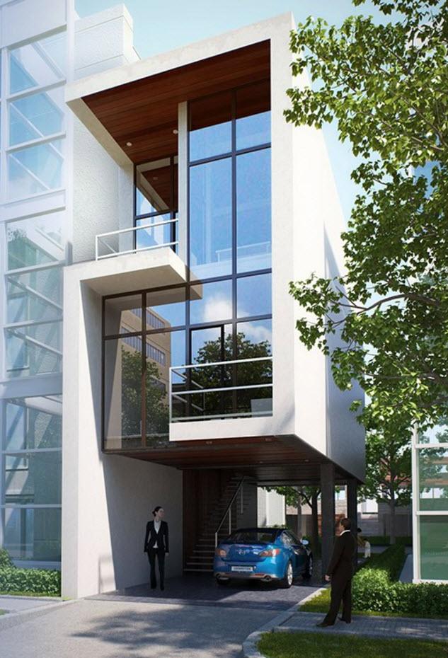 Dise o de casas angostas y largas for Construcciones minimalistas