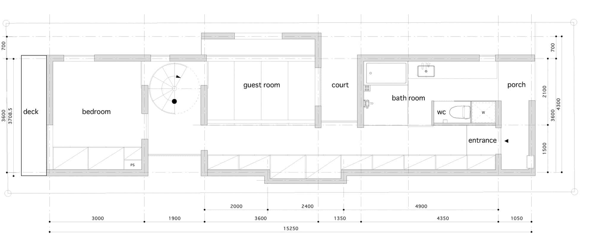 Dise o de casas angostas y largas construye hogar for Planos de interiores de casas
