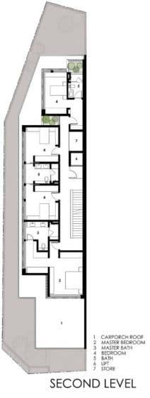 Plano de casa angosta de tres pisos