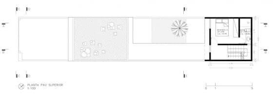 Plano de casa angosta y larga y piso y medio 2