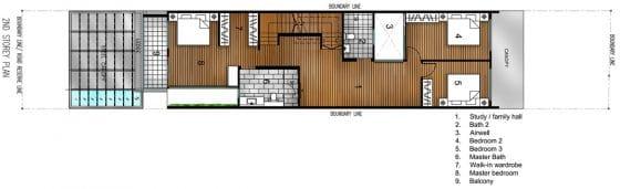 Plano de casa de dos pisos angosta