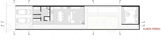 Plano de casa larga y angosta de dos pisos