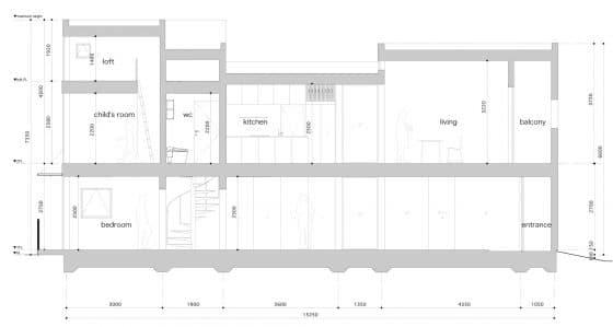 Plano de corte casa angosta de 5 x 15 metros