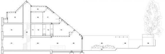Plano de corte longitudinal de casa muy angosta