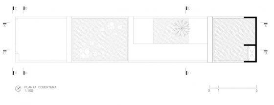 Plano de techo de casa angosta y larga
