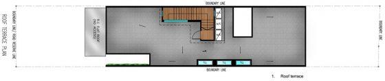 Plano de techo casa angosta
