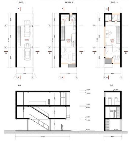 Planos casa angosta de tres pisos - planta y cortes
