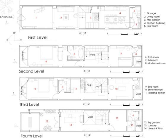 Planos de casa larga y angosta moderna de cuatro pisos