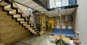 Planos, fachada e interiores de pequeña casa